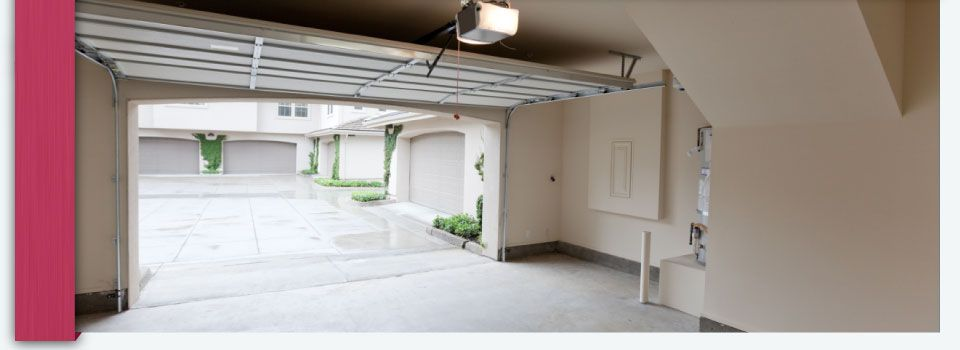 inside a garage with door open